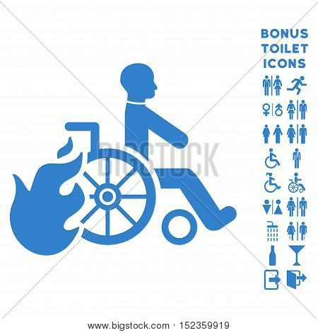 Burn Patient icon and bonus male and lady lavatory symbols. Vector illustration style is flat iconic symbols, cobalt color, white background.