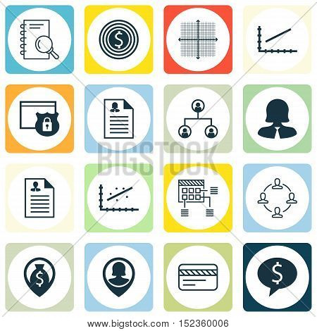 Set Of 16 Universal Editable Icons For Human Resources, Marketing And Statistics Topics. Includes Ic