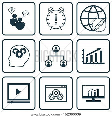 Set Of 9 Universal Editable Icons For Statistics, Human Resources And Marketing Topics. Includes Ico