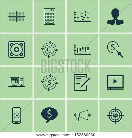 Set Of 16 Universal Editable Icons For Human Resources, Education And Computer Hardware Topics. Incl