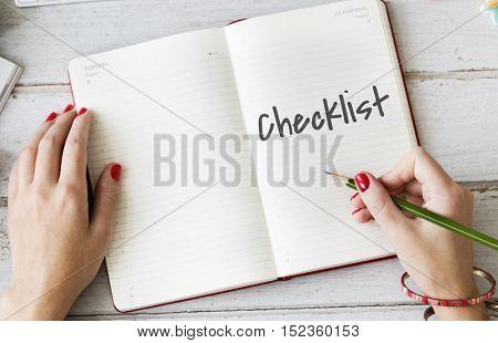 Checklist Personal Organizaer Achievement Plan Reminder Concept