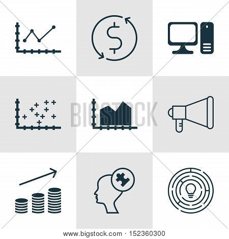 Set Of 9 Universal Editable Icons For Statistics, Computer Hardware And Airport Topics. Includes Ico