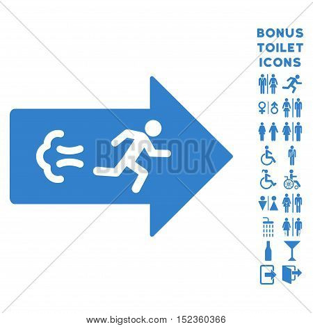 Exit Direction icon and bonus male and female restroom symbols. Vector illustration style is flat iconic symbols, cobalt color, white background.