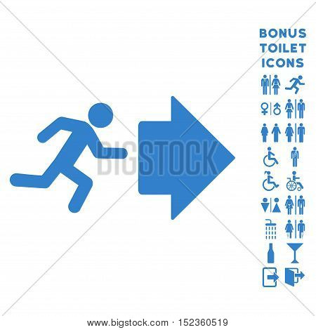 Exit Direction icon and bonus gentleman and female WC symbols. Vector illustration style is flat iconic symbols, cobalt color, white background.