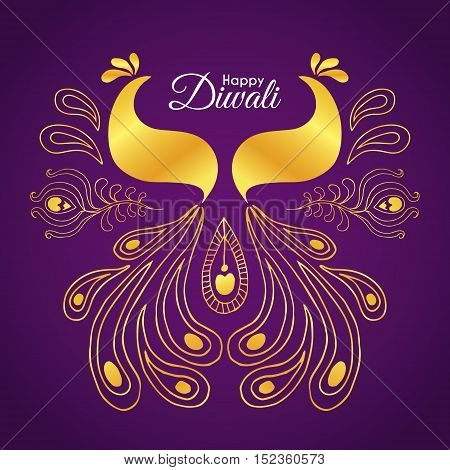 Diwali / Deepavali greetings of hand drawn golden peacock. Abstract doodle peacock. Vector illustration.