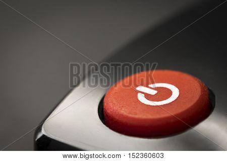 TV remote control buttons closeup. Power button.