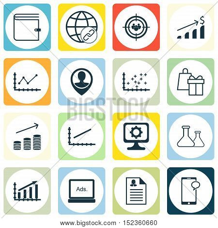 Set Of 16 Universal Editable Icons For Education, Advertising And Computer Hardware Topics. Includes