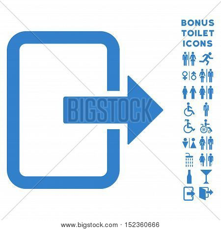 Exit Door icon and bonus male and lady lavatory symbols. Vector illustration style is flat iconic symbols, cobalt color, white background.
