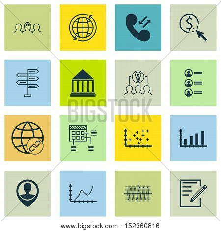 Set Of 16 Universal Editable Icons For Business Management, Advertising And Human Resources Topics.