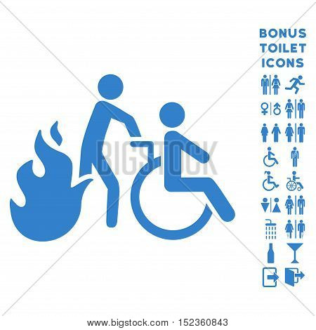Fire Patient Evacuation icon and bonus gentleman and woman toilet symbols. Vector illustration style is flat iconic symbols, cobalt color, white background.