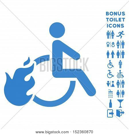 Fired Disabled Person icon and bonus man and female restroom symbols. Vector illustration style is flat iconic symbols, cobalt color, white background.