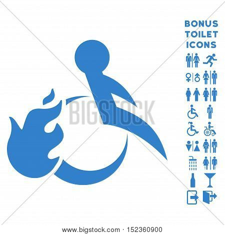 Fired Patient icon and bonus gentleman and lady WC symbols. Vector illustration style is flat iconic symbols, cobalt color, white background.