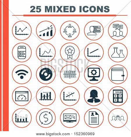Set Of 25 Universal Editable Icons For Computer Hardware, Marketing And Education Topics. Includes I