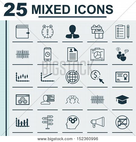 Set Of 25 Universal Editable Icons For Marketing, Education And Seo Topics. Includes Icons Such As S