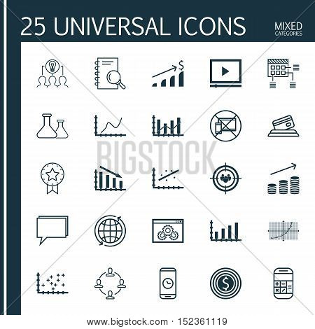 Set Of 25 Universal Editable Icons For Statistics, Airport And Education Topics. Includes Icons Such