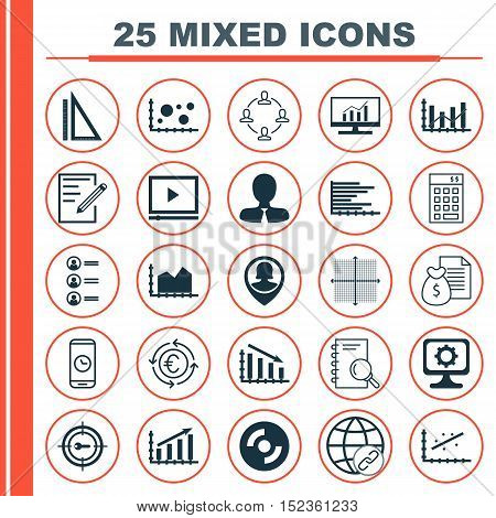 Set Of 25 Universal Editable Icons For Education, Marketing And Advertising Topics. Includes Icons S