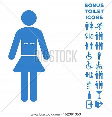 Lady icon and bonus male and woman restroom symbols. Vector illustration style is flat iconic symbols, cobalt color, white background.