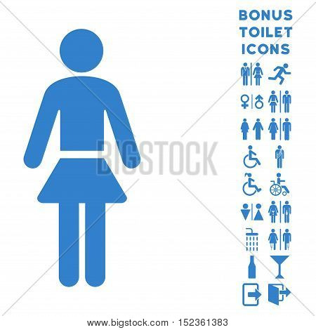 Lady icon and bonus man and lady restroom symbols. Vector illustration style is flat iconic symbols, cobalt color, white background.