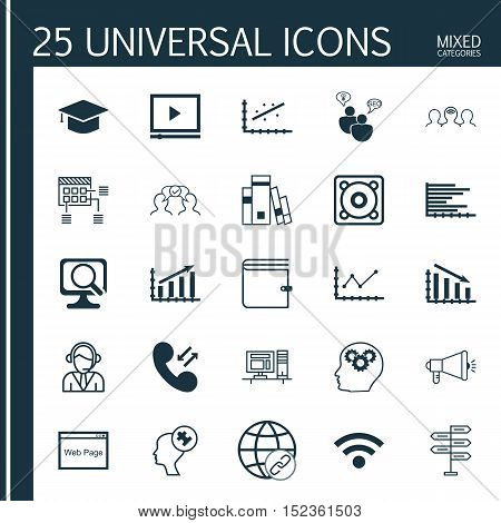 Set Of 25 Universal Editable Icons For Human Resources, Project Management And Advertising Topics. I