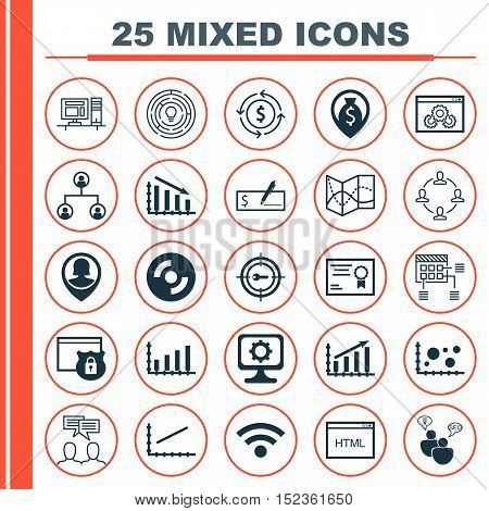 Set Of 25 Universal Editable Icons For Education, Computer Hardware And Project Management Topics. I