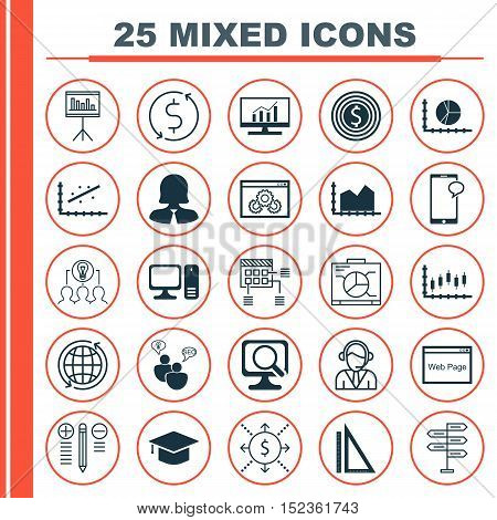 Set Of 25 Universal Editable Icons For Airport, Project Management And Computer Hardware Topics. Inc