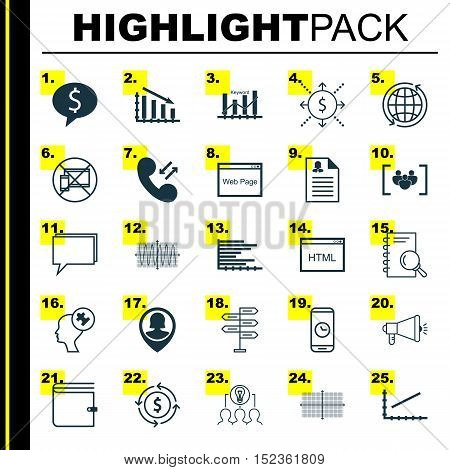 Set Of 25 Universal Editable Icons For Advertising, Statistics And Marketing Topics. Includes Icons