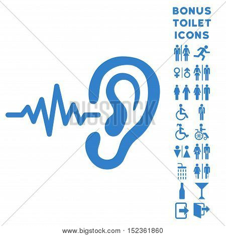 Listen Ear icon and bonus gentleman and lady WC symbols. Vector illustration style is flat iconic symbols, cobalt color, white background.