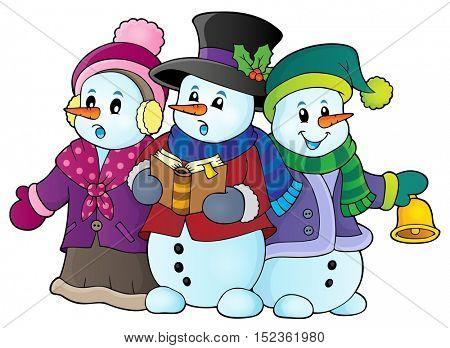 Snowmen carol singers theme image 1 - eps10 vector illustration.