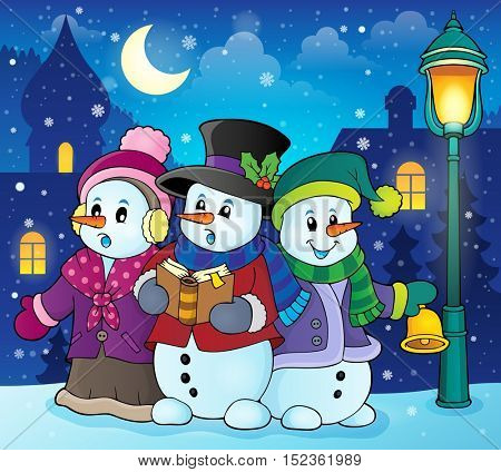 Snowmen carol singers theme image 2 - eps10 vector illustration.