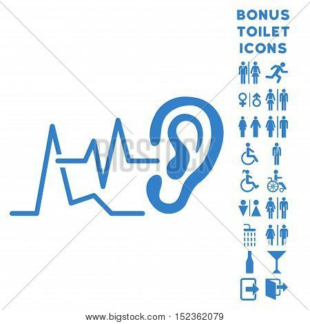 Listen Signals icon and bonus gentleman and female restroom symbols. Vector illustration style is flat iconic symbols, cobalt color, white background.