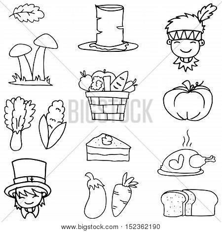 Hand draw of thanksgiving set doodles vector art