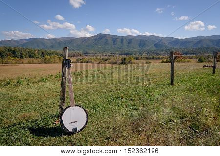 Portrait of a banjo on the smoky mountains national park