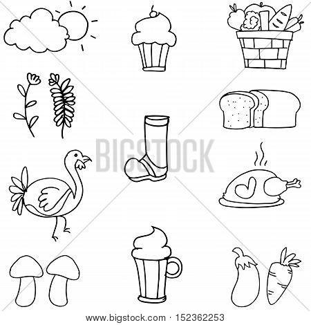 Hand draw thanksgiving set on doodles vector art