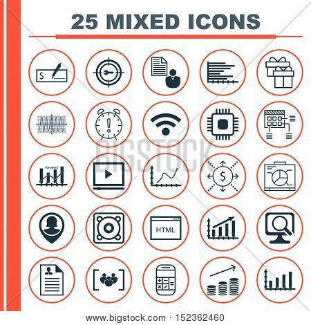 Set Of 25 Universal Editable Icons For Marketing, Seo And Advertising Topics. Includes Icons Such As