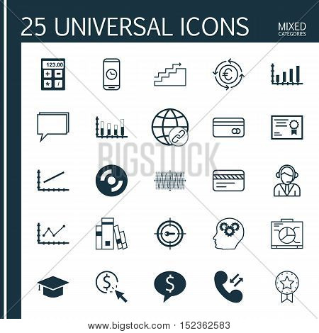 Set Of 25 Universal Editable Icons For Education, Project Management And Computer Hardware Topics. I