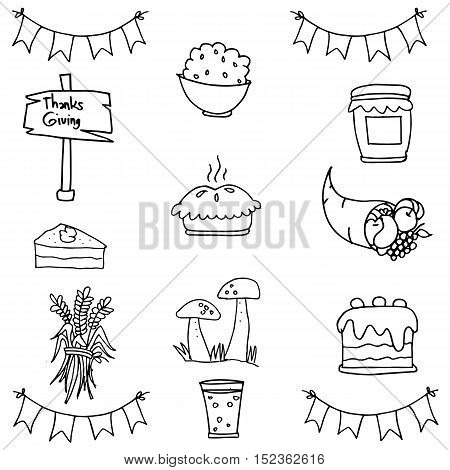Doodle of thanksgiving set object vector art