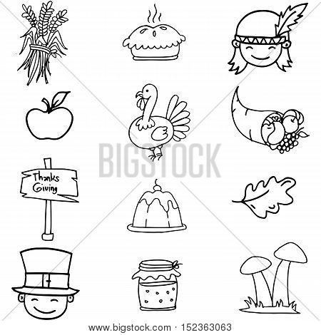 Doodle of thanksgiving with hand draw vector art