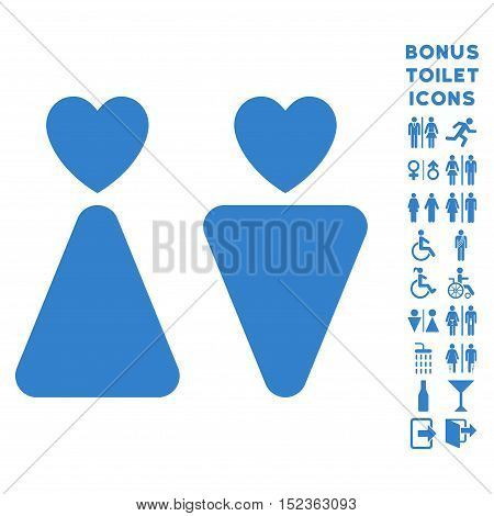 Lovers icon and bonus male and lady toilet symbols. Vector illustration style is flat iconic symbols, cobalt color, white background.