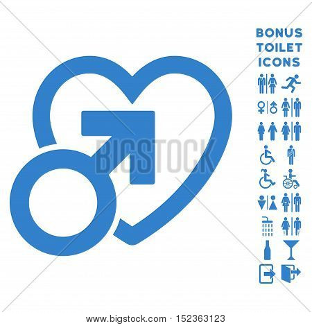 Male Love icon and bonus gentleman and woman toilet symbols. Vector illustration style is flat iconic symbols, cobalt color, white background.