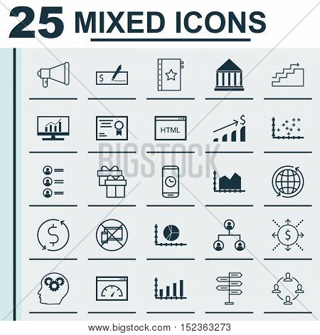 Set Of 25 Universal Editable Icons For Education, Marketing And Airport Topics. Includes Icons Such