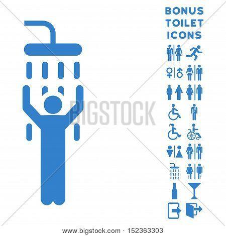 Man under Shower icon and bonus man and female toilet symbols. Vector illustration style is flat iconic symbols, cobalt color, white background.