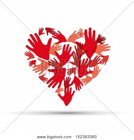 Vector sign help my heart illustration isolated in white