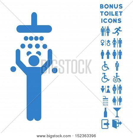 Man under Shower icon and bonus male and female restroom symbols. Vector illustration style is flat iconic symbols, cobalt color, white background.