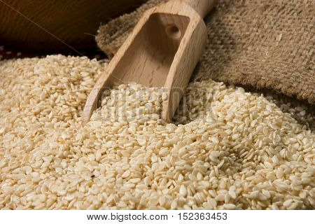 Sesame seeds spill out of the bag closeup