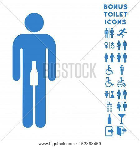 Man icon and bonus man and lady lavatory symbols. Vector illustration style is flat iconic symbols, cobalt color, white background.