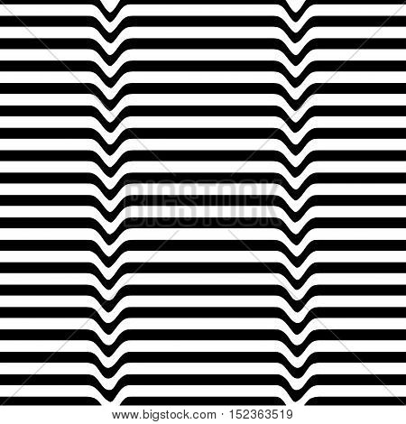 Monochrome movement illusion. White black wave line abstract optical background. Art design template. Vector illustration