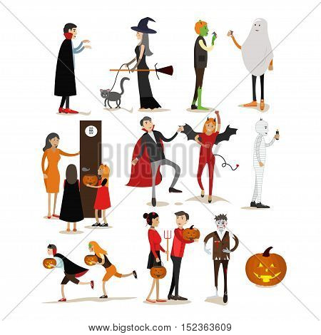 Happy halloween holiday party characters isolated on white background. Vector illustration in flat style. Design elements and icons.