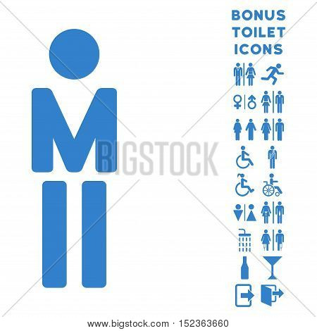Man icon and bonus gentleman and lady restroom symbols. Vector illustration style is flat iconic symbols, cobalt color, white background.