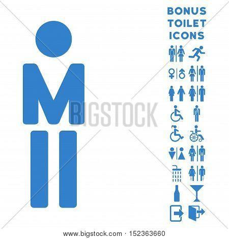 Man icon and bonus gentleman and lady restroom symbols. Vector illustration style is flat iconic symbols, cobalt color, white background.