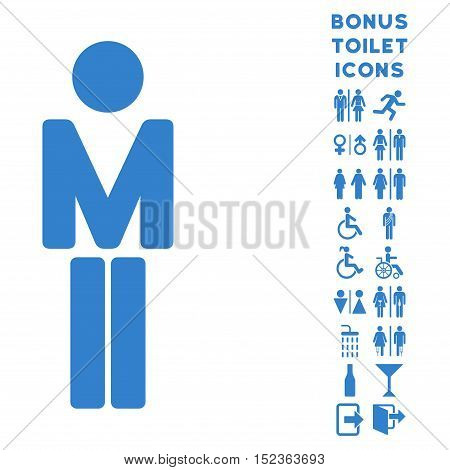 Man icon and bonus gentleman and female toilet symbols. Vector illustration style is flat iconic symbols, cobalt color, white background.